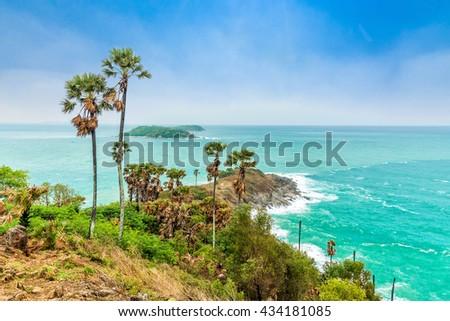 Phromthep Cape, Beautiful Andaman sea view in Phuket island, Thailand. - stock photo