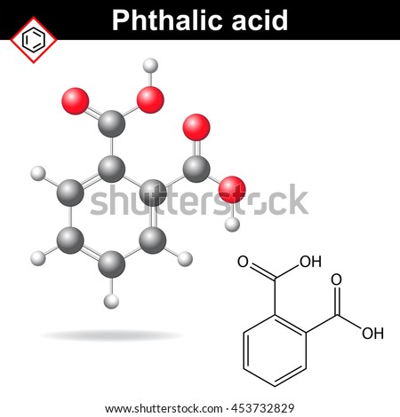 Phthalic acid molecule, 2d and 3d illustration of molecular structure, chemical model, raster - stock photo