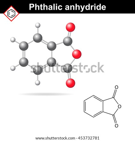Phthalic anhydride molecule, 2d and 3d illustration isolated on white background, chemical formula and model, raster - stock photo