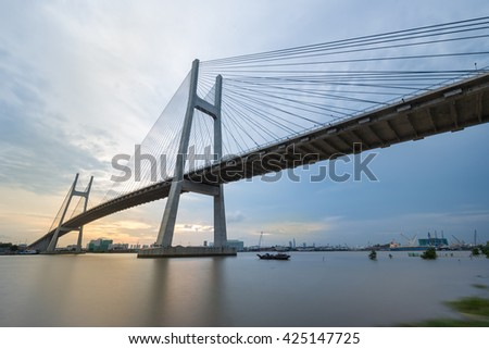 Phu My Bridge over Sunset, Ho Chi Minh City, Vietnam