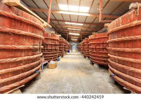 Phu Quoc island, Kien Giang province, Vietnam - May 02, 2016 : at factory fish sauce production facilities on Phu Quoc island by traditional fermented method of anchovies fermented brewed