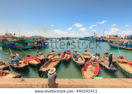 Phu Quoc island, Kien Giang province, Vietnam - May 02, 2016: People's daily life at the fishing village at port on Phu Quoc island, Traditional boats fishmen's on Phu Quoc island