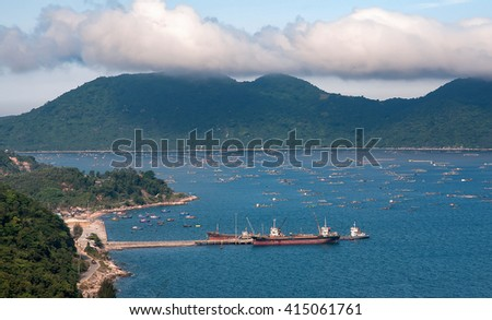 PHU YEN, VIET NAM, July 25, 2016 anchored boats, Vung Ro seaport, Phu Yen Province, Vietnam