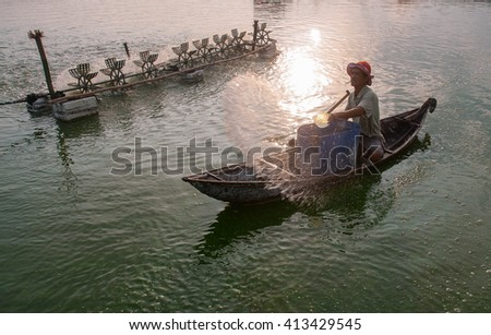 PHU YEN, VIET NAM, March 13, 2016 fishermen and waters Phu Yen, Vietnam, fish, pond area