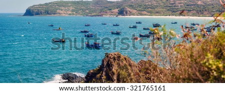 Phu Yen, Vietnam, Fishers on boats in the sea near Ganh Da Dia.