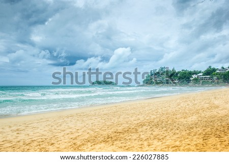Phuket coastline, Kata beach, rainy day - stock photo