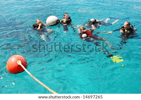 PHUKET - JULY 5: Student scuba divers in the water during a rescue dive course July 5, 2008 in Phuket, Thailand.