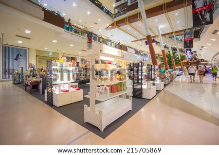 Phuket, 22 May 2014: First floor of Central Festival mall with parfum and cosmetics stores at Phuket Town, Phuket province, Thailand. - stock photo