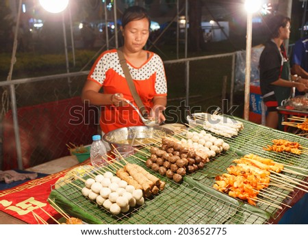 PHUKET, THAILAND - FEBRUARY 10, 2013: Outdoor kitchen at night in the south of Thailand - stock photo