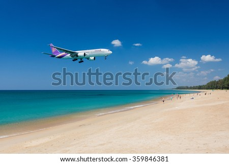 Phuket - Thailand - January 4,2016 : Thai airways airplane ,Boeing 777 is landing at Phuket airport over the beach in Thailand