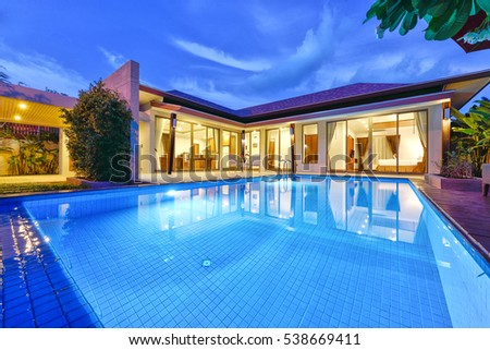 phuket thailand june 7 exterior modern tropical villa with swimming pool for a