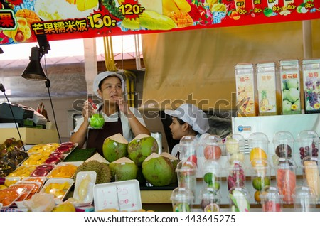 Phuket,Thailand-June,2016-Two local women selling  products in Thailand.