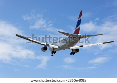 PHUKET, THAILAND - MAR 02 2015: HS-BKA Boeing 767-3W0ER of Saudi Arabian Airlines. Landing in Phuket International Airport. Thailand. - stock photo