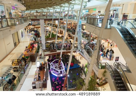 PHUKET, THAILAND - 23 MAY 2014:  Looking out from the top floor, over the multiple levels of Central Festival Mall, one of the region's premier shopping destinations.