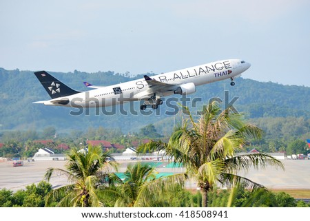 Phuket, Thailand - May 9,2016 :Thai airway star alliance design ,airbus a330/333 ,HS-TEL, take off at phuket airport