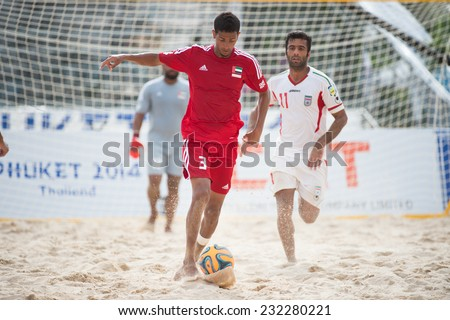 PHUKET THAILAND-NOVEMBER20 :Ahmed Salem of UAE in action during the Beach Soccer match between UAE and Iran the 2014 Asian Beach Games at Saphan Hin on Nov 20,2014 in Thailand - stock photo