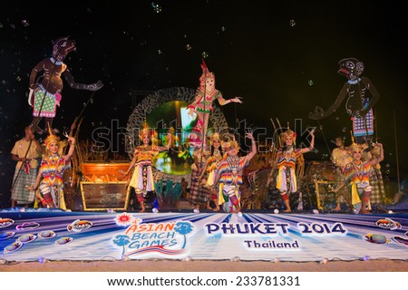 PHUKET THAILAND-NOVEMBER 14 :Thailand women dressed in traditional costume perform at the start of  the Opening Ceremony 2014 Asian Beach Games at Saphan Hin on Nov 14,2014 in Thailand - stock photo