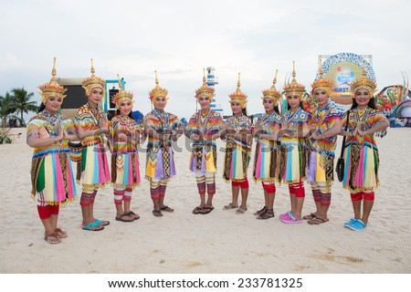 PHUKET THAILAND-NOVEMBER 14 :Thailand women dressed in traditional costume perform shot photo during before  the Opening Ceremony 2014 Asian Beach Games at Saphan Hin on Nov 14,2014 in Thailand - stock photo