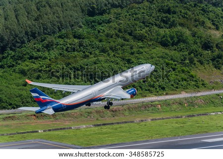 Phuket, Thailand - October 15, 2015 : Aeroflot airways airplane airbus 333 departure at Phuket Airport in sunny day