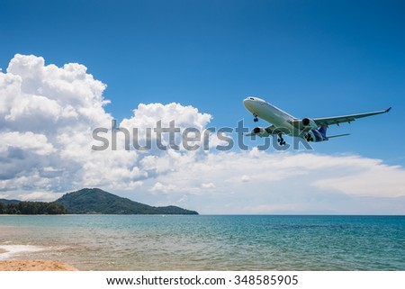 Phuket, Thailand - October 14, 2015 : Thai airways airplane airbus 333 Landing at Phuket Airport in sunny day