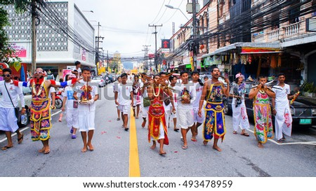 "PHUKET, THAILAND - OCTOBER 04, 2016: The Street Procession around Phuket Town from Sapam Shrine, ""Ma Song"" Body Piercing with Spike, Phuket Vegetarian Festival 2016."