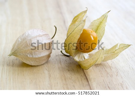 Physalis peruviana, Cape gooseberry, Inca berry, Aztec berry, golden berry, giant ground cherry, African ground cherry, Peruvian groundcherry ripened fruit