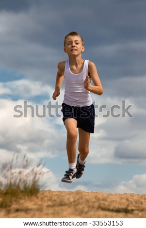 Physical drill of little boy(running)