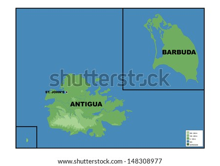 Physical Map Antigua Barbuda Stock Illustration 148308977 Shutterstock