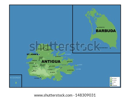 Physical map of Antigua and Barbuda