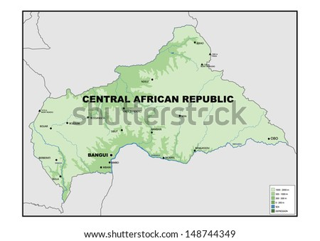 Physical map of Central African Republic - stock photo