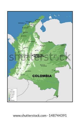 Physical map of Colombia - stock photo