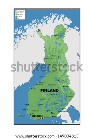 Physical map of Finland - stock photo