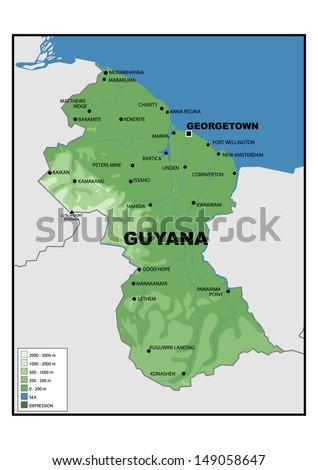 Physical Map Guyana Stock Illustration 149058647 Shutterstock