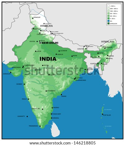 Physical map of India - stock photo