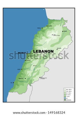 Physical Map Lebanon Stock Illustration 149168324 Shutterstock