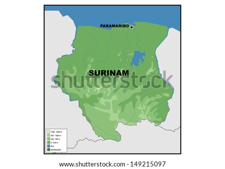 Physical Map Suriname Stock Illustration 149215097 Shutterstock