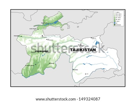 Physical Map Tajikistan Stock Illustration 149324087 Shutterstock