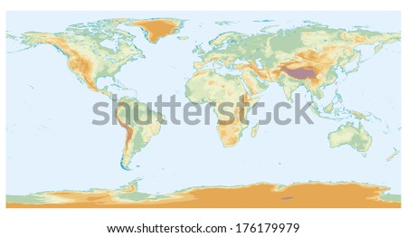 Physical map of the world with lakes and interior seas - stock photo