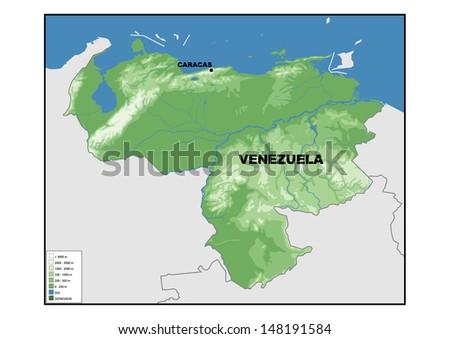Physical Map Venezuela Stock Illustration 148191584 Shutterstock