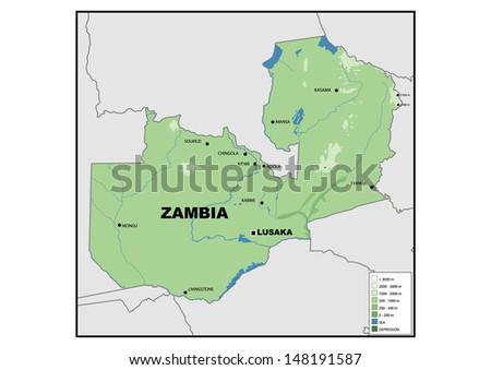 Physical Map Zambia Stock Illustration 148191587 Shutterstock
