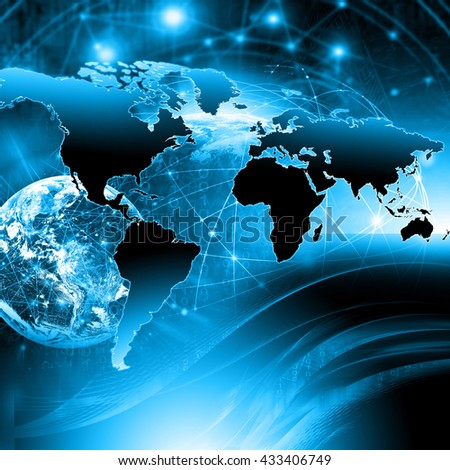 Physical world map illustration. Elements of this image furnished by NASA - stock photo