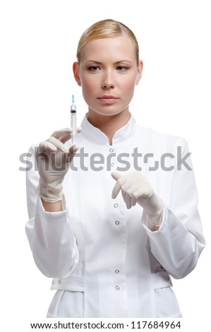 Physician in rubber white gloves is ready to make an injection, isolated on white