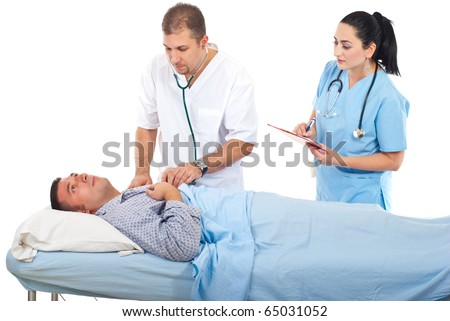 Physician man assesing sick patient in hospital and a nurse assisting them isolated on white background - stock photo