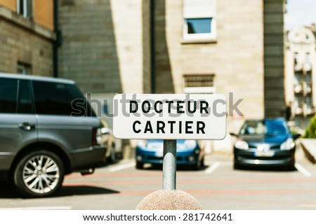 Physician parking space sign - specially for the neighborhood doctor - stock photo