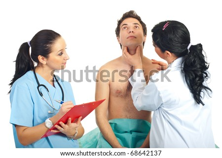 Physician woman examine neck male patient checking for thyroid problem or sore throat and a nurse taking notes in clipboard - stock photo