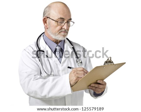 Physician writing on a clipboard using his pen isolated in a white background - stock photo