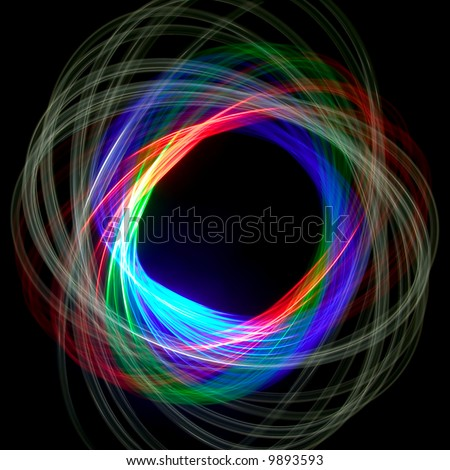 Physiogram spiral using three colour filters - stock photo