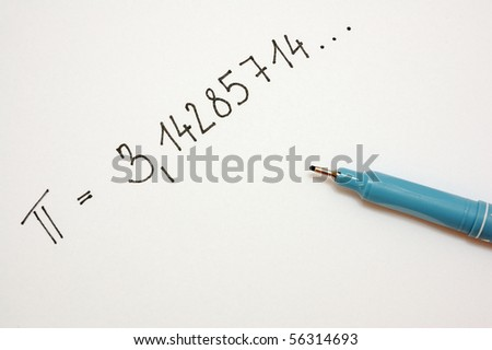 Pi number and pen on white background - stock photo