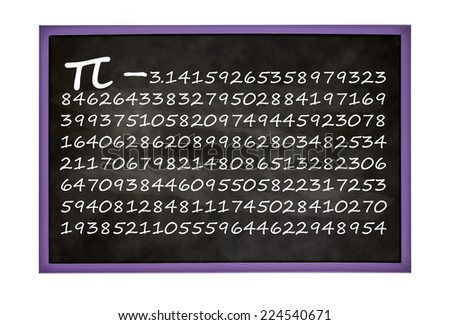 Pi number on blackboard isolated on white - stock photo