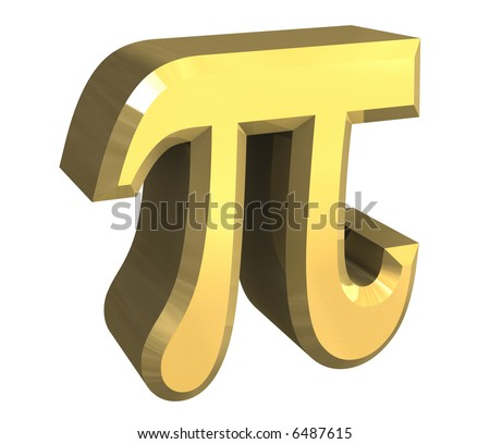 pi symbol in gold (3d) - stock photo